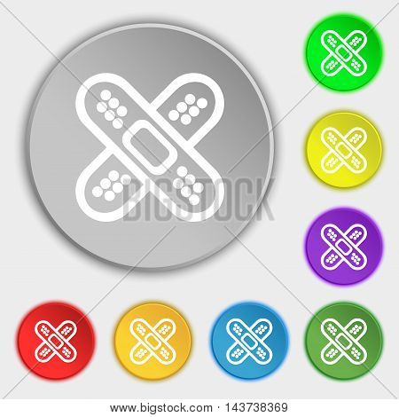 Adhesive Plaster Icon Sign. Symbol On Eight Flat Buttons. Vector