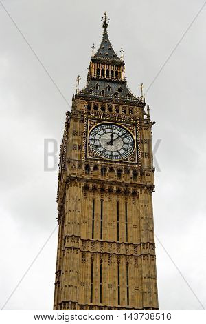 Big Ben Clock Tower part of the Palace of Westminster London England. UK.