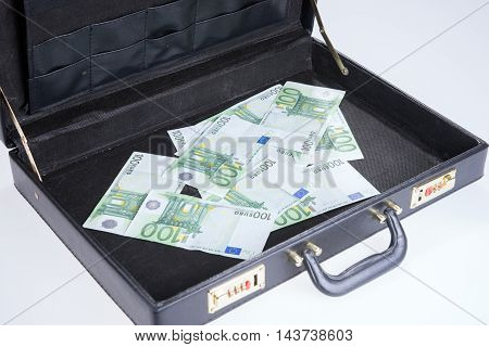 Ten times hundred Euro banknotes in briefcase