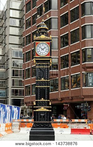 LONDON ENGLAND - JULY 8 2016: Little Ben a cast iron miniature clock tower near Victoria station. It mimics the famous Big Ben. Reinstalled on 28 February 2016 after refurbishment.