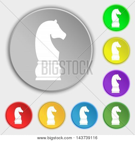 Chess Knight Icon Sign. Symbol On Eight Flat Buttons. Vector