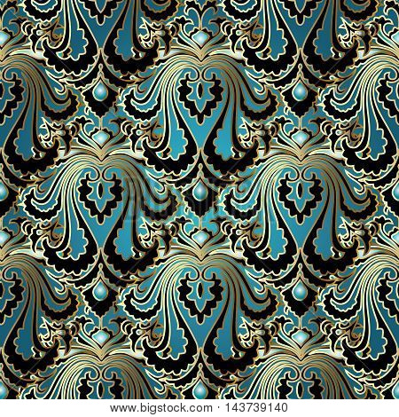 Elegant stylish floral vector seamless pattern with vintage beautiful blue turquoise flowers and ornaments with gold outline on the black background. Luxury illustration and royal 3d decor elements with shadow and highlights. Endless elegant  texture.