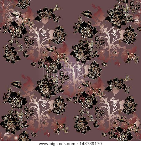 Stylish elegant floral abstract vector seamless pattern background with vintage gold black pink  flowers, leaves and  vintage ornaments. Luxury illustration and royal 3d decor elements with shadow and highlights. Endless elegant texture.