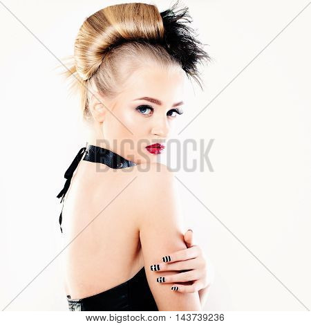 Glamorous Woman on white. Hairstyle Makeup and Manicure
