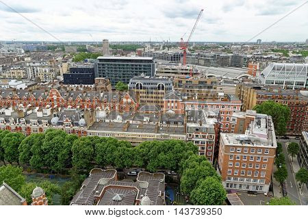 Aerial View from Westminster Cathedral on Roofs and Houses of London United Kingdom.