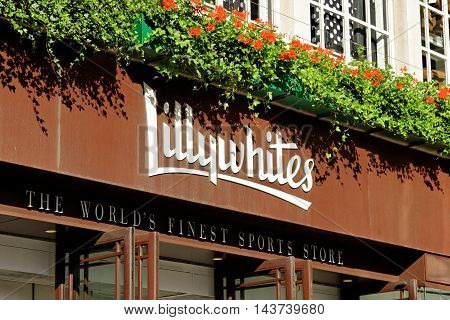 LONDON ENGLAND - JULY 8 2016: Lillywhites on Piccadilly circus. It is a 5-storey emporium founded in 1863 by leading cricket family with 34 specialist sports departments.