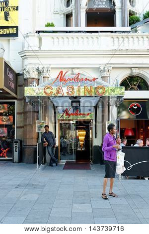 LONDON ENGLAND - JULY 8 2016: Napoleons Casino and Restaurant on Leicester Square. It has been in operation for over 25 years and it boasts of being the West End's original casino.