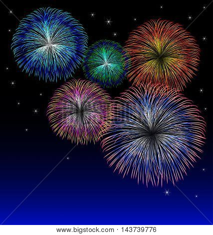 Colorful fireworks background with star vector background
