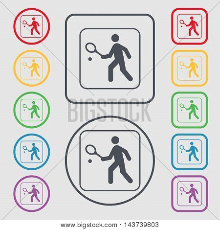 Tennis Player Icon Sign. Symbol On The Round And Square Buttons With Frame. Vector