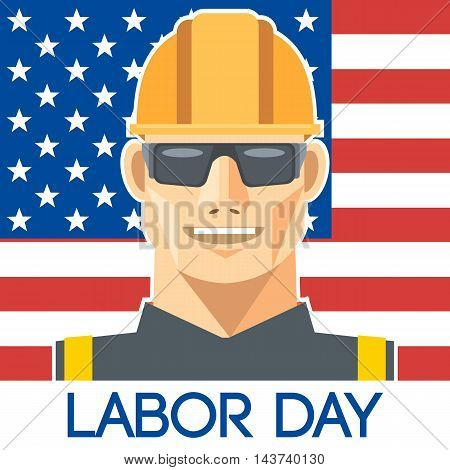 Labor Day design with a worker with safety helmet and glasses over the flag of united states of america. Digital vector image
