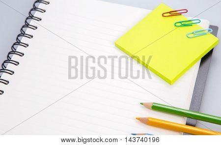 concept and office supplies on white
