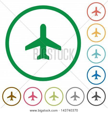 Set of airplane color round outlined flat icons on white background