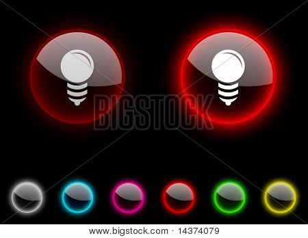 Bulb realistic icons. Empty buttons included.