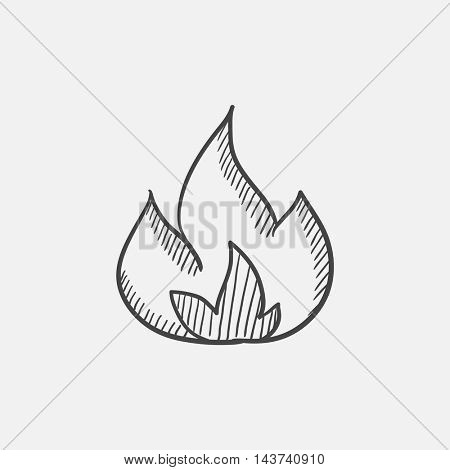 Fire sketch icon for web, mobile and infographics. Hand drawn vector isolated icon.