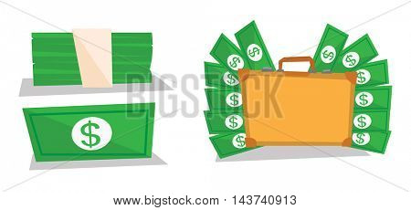 Briefcase full of money, dollar bill and bundle of money vector flat design illustration isolated on white background.
