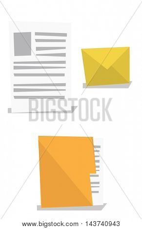 Envelope, document and folder with file vector flat design illustration isolated on white background.