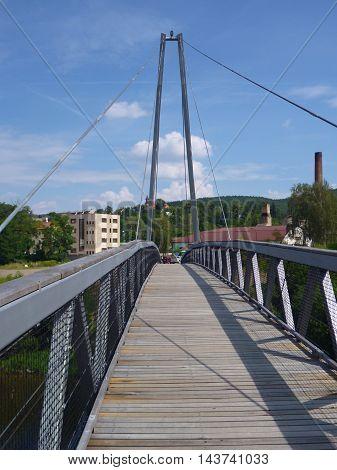 Pedestrian Bridge Suspended On Iron Ropes