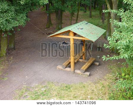 Wooden Tourist Shelter With A Green Roof