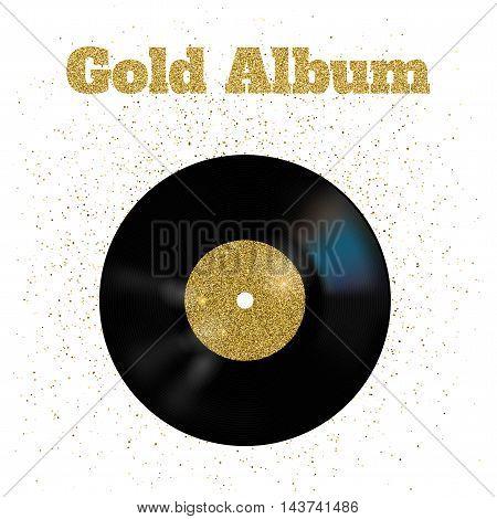 Vector illustration of gold metal vinyl disk
