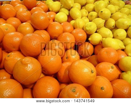 Oranges And Yellow Lemons In A Shop