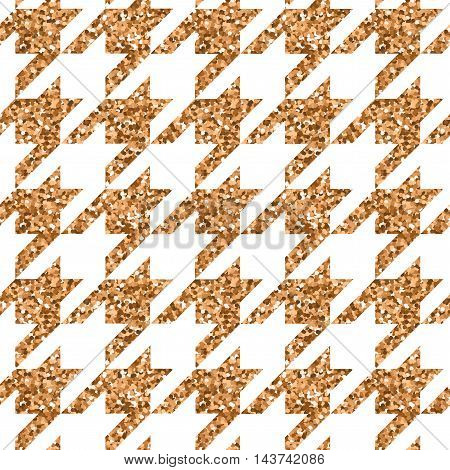 Vector illustration season fashion trend pied-de-poole houndstooth dogtooth puppy tooth for fashion collections: sweater, cardigan, sweatshirt, jewelery, costume in bronze metallic color