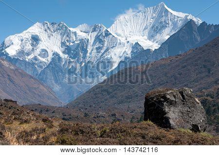 View of upper Langtang Valley with Langshisa Peak (Langshisha Ri) Langtang National Park Rasuwa District Bagmati Nepal.