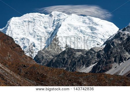 View of Mt. Shishapangma from Langtang Valley Langtang National Park Rasuwa District Bagmati Nepal.