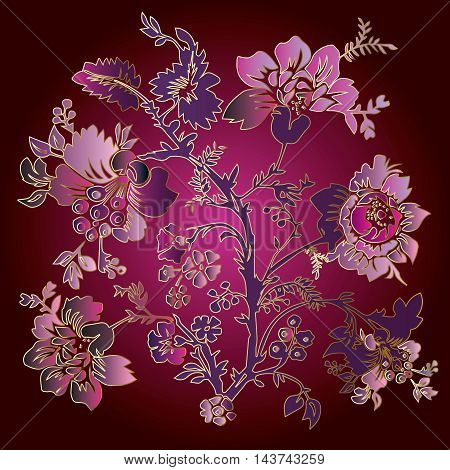 Vector illustration with elegant vintage decorative pink, purple and violet blowers and leaves on the dark purple shiny background. Stylish  illustration and 3d vintage decor elements with shadow and highlights.