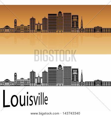 Louisville skyline in orange background in editable vector file