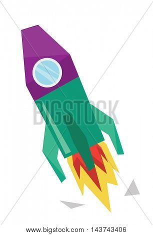 Start up of new business project. Start up concept. Rocket launch. vector flat design illustration isolated on white background.
