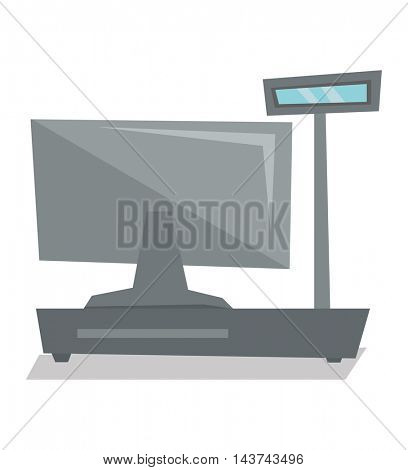 Rear view of electronic cash register vector flat design illustration isolated on white background.