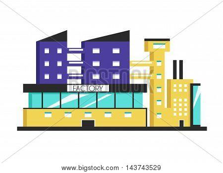 Factory building. Flat vector illustration. Constructivism style. Modern architecture. Bright design