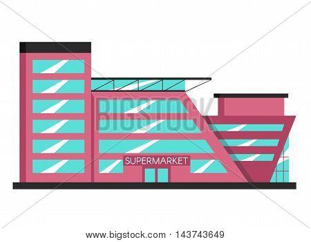 Supermarket building. Flat vector illustration. Constructivism style. Modern architecture. Bright design