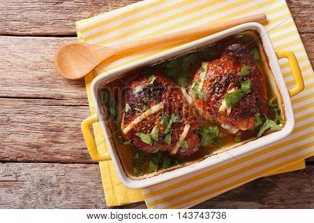 Pieces Of Chicken With Onions Baked In Mustard Sauce. Horizontal Top View