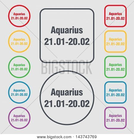 Aquarius Icon Sign. Symbol On The Round And Square Buttons With Frame. Vector