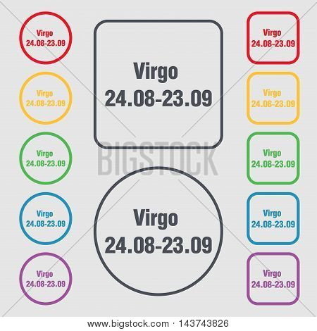 Virgo Icon Sign. Symbol On The Round And Square Buttons With Frame. Vector