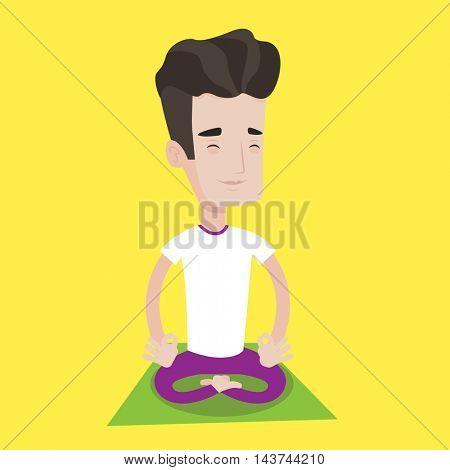 Young man meditating in yoga lotus pose. Man relaxing in the yoga lotus position. Man doing yoga. Vector flat design illustration. Square layout.