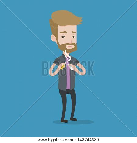 A hipster man with the beard breaking the cigarette. Man crushing cigarette. Man holding broken cigarette. Quit smoking concept. Vector flat design illustration. Square layout.