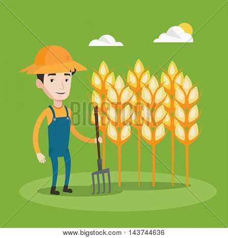 A happy farmer in summer hat standing with a pitchfork on the background of wheat field. Smiling man holding agricultural tool and working in wheat field. Vector flat design illustration. Square