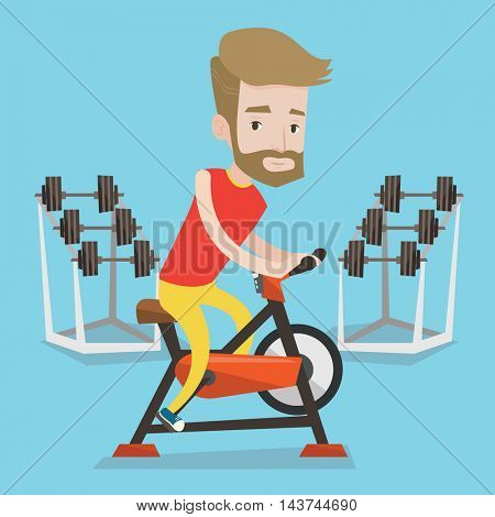A hipster man with the beard riding stationary bicycle in the gym. Sporty man exercising on stationary training bicycle. Man training on exercise bike. Vector flat design illustration. Square layout.