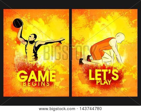 Two Page Template, Brochure or Flyer design, Creative abstract background with illustration of Basketball Player and Runner for Sports concept.