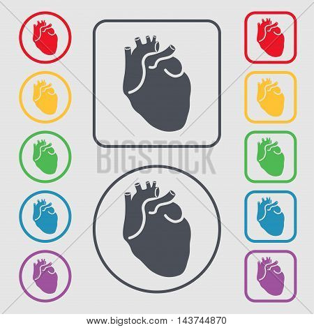 Human Heart Icon Sign. Symbol On The Round And Square Buttons With Frame. Vector