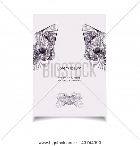 Hipster vector template with cat head. Wild animal illustration for posters greeting cards flyers and banners web designs. Anniversary holiday wedding business birthday party invitations.