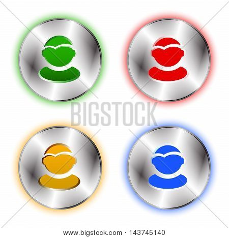 User profile colorful icon set. Tehno metallic circle base and user shape cut off. Best for business presentations application icon web design and other visualisations. Vector illustration