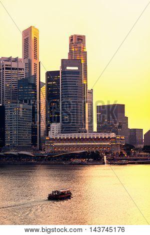 Singapore sunset, toned image, vertical image, yellow