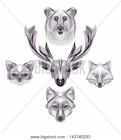 Hipster vector animal head set. Deer wolf bear fox cat. Wild animals illustration for posters greeting cards flyers banner web designs. Holiday wedding business birthday party invitations