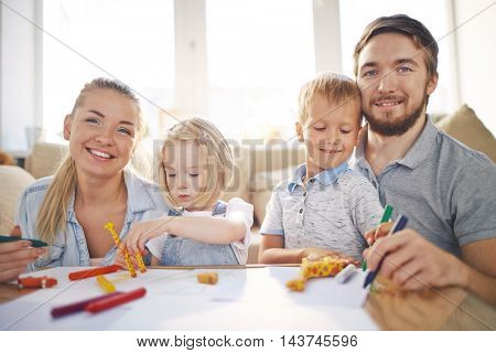 Parents Drawing Together with Kids