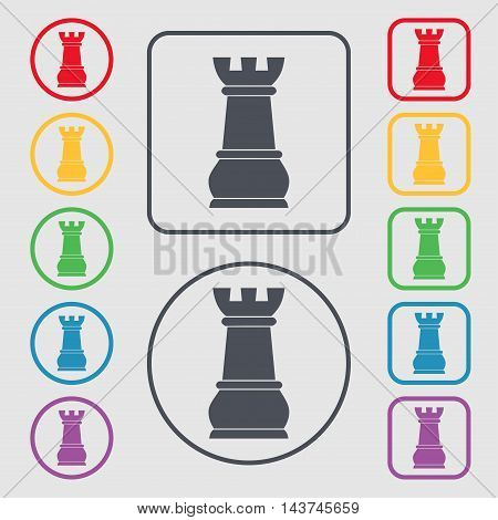 Chess Rook Icon Sign. Symbol On The Round And Square Buttons With Frame. Vector