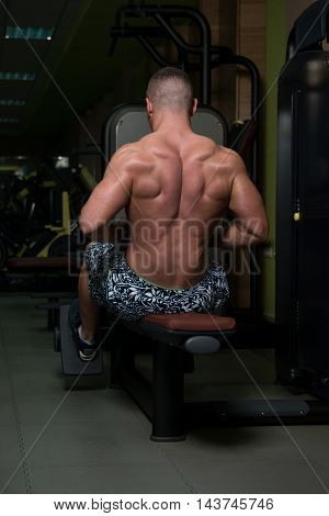 Man In The Gym Exercising Back On Machine