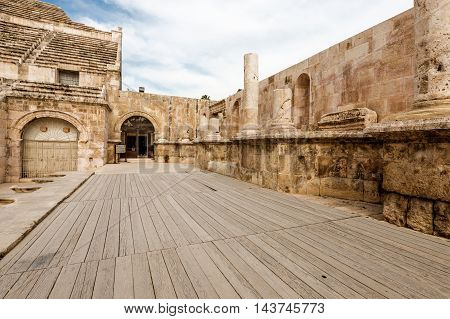roman amphitheatre with cloudy sky  in Amman Jordan